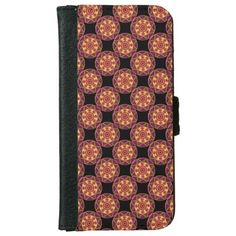 This elegant iPhone 6 wallet case is decorated with a pattern of mosaic mandala stars in brilliant autumn colors contained in a deep purple maroon circle. Orange and red circles on a field of yellow surround the center target. The very center of each is green.