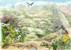 Idealised brownfield site.  This is one of my faves from the series of big landscapes I did for Natural England.