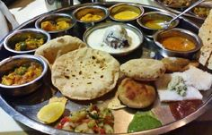 The thali from Uttar Pradesh is again robust, filled with dal, veggie dishes, dahi and even sweets