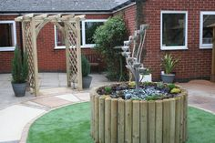Check out this wonderful Sensory Garden supplied and installed at Age UK in Oadby and Wigston with its colourful, stimulating pathway that leads the visitors around the garden and into the beach hut, where sand has been mixed with resin to produce an easy to walk on sandy surface. A Cascading Cup water feature, no maintenance artificial grass, aromatic sensory planters and wooden pergola brings the garden together to create the desired relaxing setting....truly blissful!!