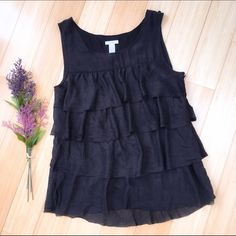 J. CREW black sleeveless top, 4 small. Beautiful sleeveless ruffle top from J Crew. Black, good condition. Sz 4.  Wear under a jacket at work, or dress up some pants.  Date night in jeans and heels! J. Crew Tops Tank Tops