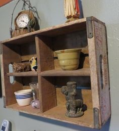 Repurposed ~ Wooden crate/shelf.  We always have a selection of wooden crates in the shop.