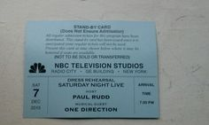SNL Ticket - Host: Paul Rudd Musical Guest: One Direction