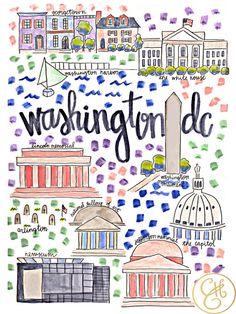 Evelyn Henson illustration: Washington DC Map Print