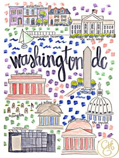 Washington DC Map Print by Evelyn Henson