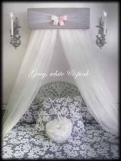 CrOwN Pelmet Upholstered Awning GRAY White PINK SaLe Princess Bed Canopy by SoZoeyBoutique on Etsy