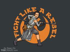 Fight Like A Rebel T-Shirt - http://teecraze.com/fight-like-rebel-t-shirt/ -  Designed by Boggs Nicolas     #tshirt #tee #art #fashion #clothing #apparel #StarWars