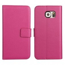Samsung Galaxy S6 - Genuine Leather Flip Stand Protective Phone Cover Case Wallet - Rose