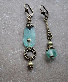 Ancient Roman Glass Earrings Asymmetrical earrings