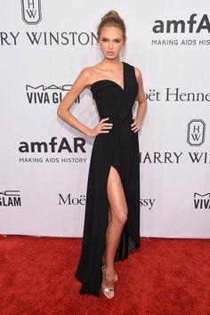 Romee Strijd Little Black One Shoulder Prom Dress 2016 AmfAR