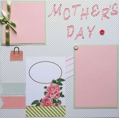 Two Mother's Day scrapbook pages in protective sleeves are ready for your photos. Designed from cardstock, paper, buttons, ribbon, glitter, plus die cut and paper pieced embellishments. Acid free materials are used to last for generations. Photos slip under embellishments. Free shipping in sturdy protective packaging. For use in scrapbook or frames.This layout with fresh colors of light green and pink with flowers will compliment any mother's day photos.