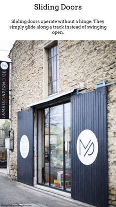Facade sign at La Maison Pernoise concept, France Exterior Sliding Barn Doors, Sliding Doors, Garage Doors, Closet Doors, Signage Design, Cafe Design, Store Design, Store Concept, Terrazo