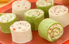 Ingredients: 3 Tbsp. (45mL) green onions, chopped 4 large flour tortillas 2 Tbsp. (30mL) Mrs. Dash® Southwest Chipotle Seasoning Blend 8 oz package (225g) no-fat or low-fat cream cheese, softened 2 Tbsp. (30mL) red pepper, finely chopped