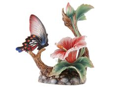 Butterfly & Hibiscus Statue by Franz Collection
