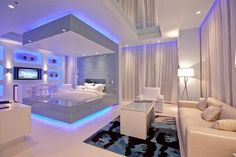 Nice Futuristic Bedroom Interior.