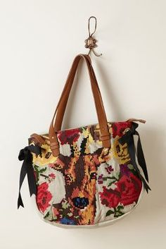 stitched deer tote - anthropologie