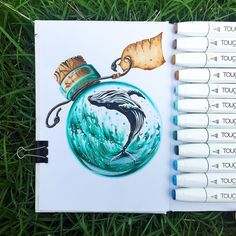 "World in the jar. Whale. (@art.is.journey) on Instagram Traveler • Sketcher • Teacher : The whale's little world  #worldinajar #whale #shinhanart…"""