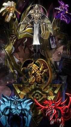 Pharaoh Atem, Yami Yugi, Yugi Mutou, The Winged Dragon of Ra, Slifer The Sky Dragon, Holactie the Creator of Light, Dark Magician, Palladium Oracle Mahad, Millennium Puzzle. Yu-Gi-Oh! 1280 x 720 px