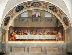 ANDREA DEL SARTO (b. 1486, Firenze, d. 1530, Firenze)   Click! The Last Supper  1520-25 Fresco, 525 x 871 cm Convent of San Salvi, Florence  Leonardo's Last Supper was copied and adapted in several refectories, particularly in Lombardy. Andrea del Sarto's fresco in the former refectory of the Vallombrosan monastery of San Salvi in Florence also testifies to knowledge of Leonardo's fresco.