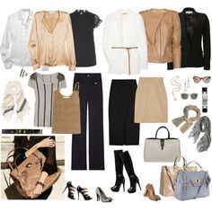 capsule wardrobe business black and natural - I like all of these pieces. Core Wardrobe, Capsule Wardrobe Work, Capsule Outfits, Fashion Capsule, Wardrobe Basics, Mode Outfits, New Wardrobe, Wardrobe Ideas, How To Have Style