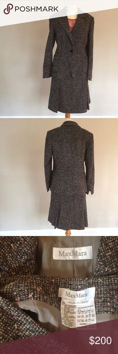 Max Mara Mohair/Wool Blend Tweed Style Suit 10 Max Mara tweed style suit. Made with 74% virgin wool, 20% silk, 4% nylon, 1% Mohair and 1% elastase. Two piece jacket and skirt both size 10. Luxurious style suit, great for work. This is a stunning outfit on and is in perfect condition. Max Mara Jackets & Coats Blazers