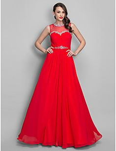 TS+Couture®+Prom+/+Formal+Evening+/+Military+Ball+Dress+-+Elegant+Plus+Size+/+Petite+A-line+/+Princess+Jewel+Floor-length+Chiffon+with+Beading+/+–+USD+$+345.00
