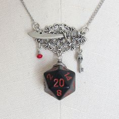 Gloom Blade Dungeons and Dragons D20 Necklace, By Mortivoreium