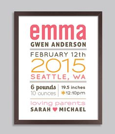New Baby Gift, Personalized Birth Announcement Wall Art, Baby Print, Nursery Wall Print (Baby Name Birth Stats), Welcome Baby, Pink & Orange