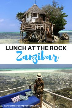 The Rock Restaurant in Zanzibar, Tanzania is one of the most original restaurants in the world Sitting on a rock in the middle of the ocean it's a postcard of the island! Read more about it in www.littlefootadventures.com?utm_content=buffer543f5&utm_medium=social&utm_source=pinterest.com&utm_campaign=buffer Zanzibar | Tanzania | The Rock | Restaurants #Zanzibar #Tanzania #Therock #Restaurants #Island #Tropical