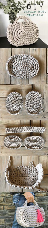 El súper tutorial Foto a Foto que estábais esperando. Cómo hacer un bolsazo de Trapillo Crochet Crafts, Crochet Yarn, Crochet Hooks, Crochet Projects, Patron Crochet, Crochet Santa, Love Crochet, Crochet Clutch, Crochet Handbags