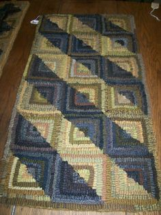"""Log Cabin rug hooked by Laura Schnelker; well done secondary pattern of """"light & shadow"""" effects!"""