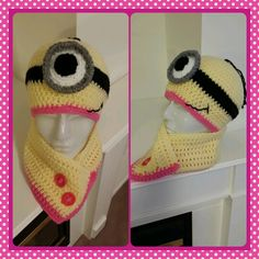 Crochet Minion inspired hat and neck warmer