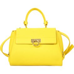 Salvatore Ferragamo Sofia Medium Top Handle bag (16.325.095 IDR) ❤ liked on Polyvore featuring bags, handbags, shoulder bags, purses, yellow, yellow shoulder bag, hand bags, salvatore ferragamo handbag, yellow handbag and yellow purse