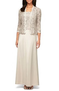 Alex Evenings Sequin Lace & Satin Gown with Jacket (Regular & Petite) available at #Nordstrom