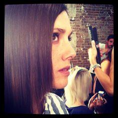 Sleek hair at Rachel Antonoff. #NYFW