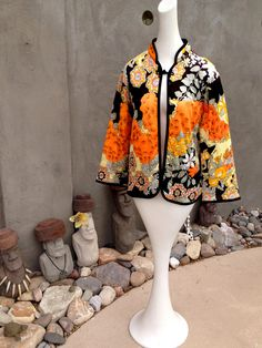 Vintage 70s Asian Quilted Jacket Mod Chinese Print Bell Sleeves Orange Brown Shiny Disco Knit Fabric 14 M L. $39.00, via Etsy.