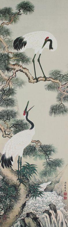 Japanese Fine Art Painting Pair of Crane Bird by SakuraAntiques