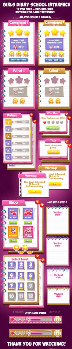 Girls Diary School GUI - User Interfaces Game Assets
