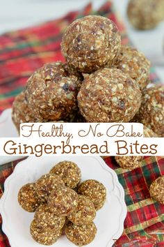 Healthy No Bake Gingerbread Bites recipe - An easy idea for Vegan Christmas treats that easy to make and tastes like cookies! This idea for Clean Eating desserts is filled with dates, oats, and gingerbread spices like cinnamon, nutmeg and cloves. The best healthy gingerbread recipe! Added sugar free and vegetarian! / Running in a Skirt #cleaneating #cleaneatingchristmas #vegan #veganchristmas #healthyliving #nobakedessert