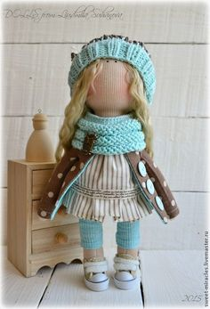 Купить Кукла-малыш в мятном - мятный, коричневый цвет, горох, кукла ручной работы