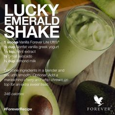 Lucky Emerald Shake - Forever ingredients: Forever Lite Ultra® with Aminotein® - Vanilla http://360000339313.fbo.foreverliving.com/page/products/all-products/3-weight-loss/470/usa/en Need help? http://istenhozott.flp.com/contact.jsf?language=en Buy it http://istenhozott.flp.com/shop.jsf?language=en