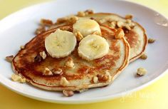 Healthy Banana Nut Pancakes Made with Whole Wheat Flour, Fresh Bananas and Toasted Walnuts | Skinnytaste