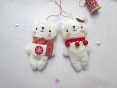 Set of 2 handmade plush bear ornaments Christmas ornaments