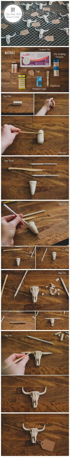 How To #Diy Clay Steer Skull Escort Card by candy