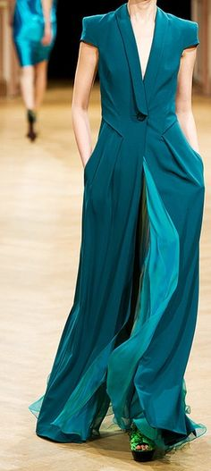 Two Shades of Teal Runway Fashion, High Fashion, Womens Fashion, Beautiful Gowns, Beautiful Outfits, Shades Of Teal, Fashion Details, Pantone, Passion For Fashion