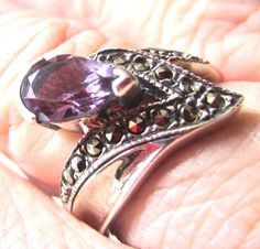 Amethyst Marcasite and Sterling Silver Ring Size 6 by guarnaccia, $18.99 Amethyst Gemstone, Marcasite, Bracelet Set, Sterling Silver Rings, Gemstones, Gems, Crystals Minerals, Gem, Bangle Set