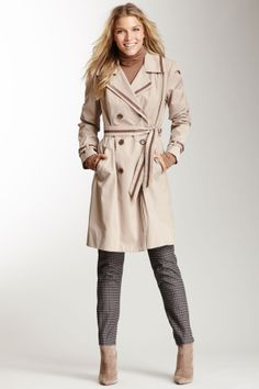 Faux Leather Trim Trench Coat//
