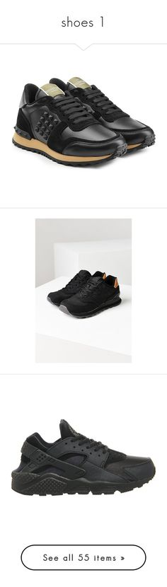 """shoes 1"" by paradapermitida on Polyvore featuring moda, Bestar, shoes, sneakers, black, black suede shoes, valentino sneakers, black lace up shoes, black laced shoes e black lace up sneakers"