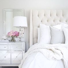 Home Inspo Arhaus linen tufted bed mirrored nightstand target decor white wedding pottery barn pink peonies neutral decor Target Decor, Mirrored Nightstand, Mirrored Bedroom, Nightstand Ideas, White Nightstand, Bedside, White Headboard, White Upholstered Bed, White Curtains