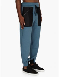 Christopher Raeburn Men's Blue Mesh Pocket Sweatpants | oki-ni